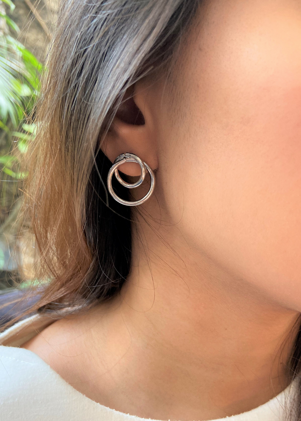 DOUBLE CIRCLE SILVER STUDS
