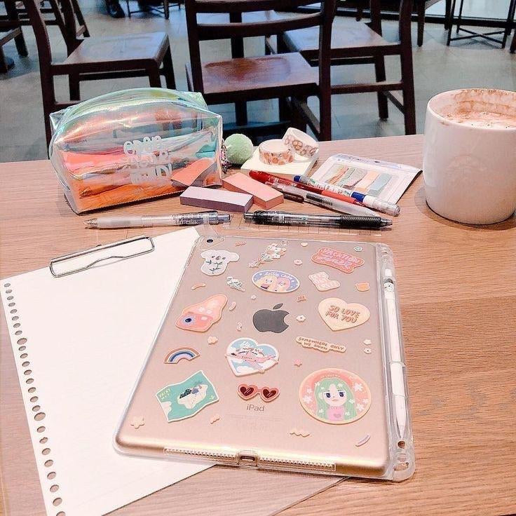 iPad transparent case + stickers
