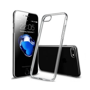 Funda transparente con bordes de metal