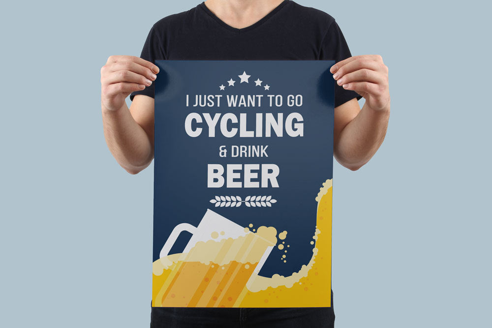 I Love Cycling & Beer Poster - Global Cycling Gear