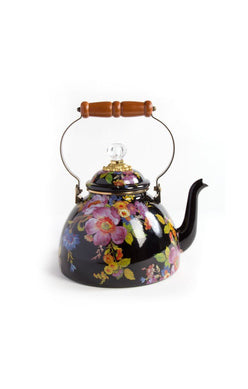 Flower Market 3Qt Enamel Tea Kettle - Black