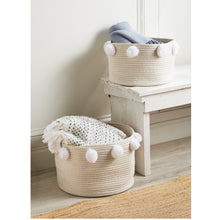 Load image into Gallery viewer, White Pom Pom Basket Set