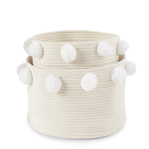 White Pom Pom Basket Set