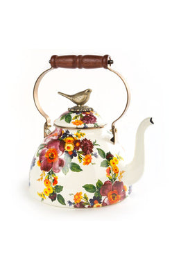 Flower Market 3Qt Enamel Tea Kettle - White