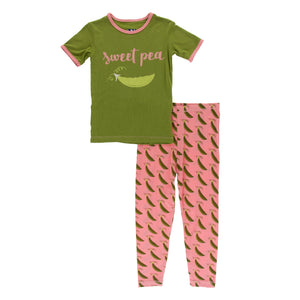 Short Sleeve Pajama Set Strawberry Sweet Peas