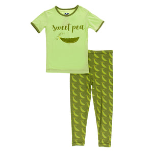 Short Sleeve Print Pajama Set Grasshopper Sweet Peas