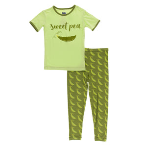 Short Sleeve 2 Piece Pajama Set Grasshopper Sweet Peas