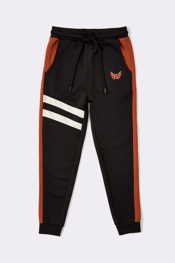 Orange and black with white stripe on right leg boys full length joggers with drawcord and pockets