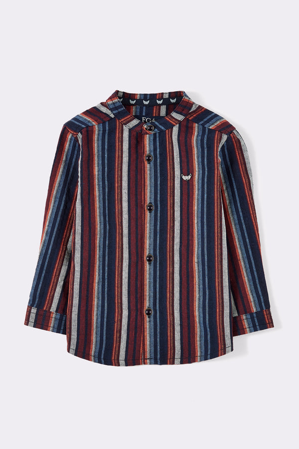 multi striped with full sleeve shirt, grandad collar with 5 buttons
