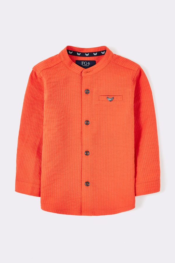 Orange long sleeve boys shirt with front buttons and grandad collar neck