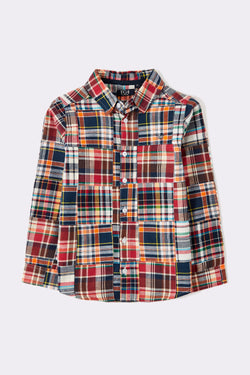 Multi coloured long sleeve casual check boys shirt with front buttons