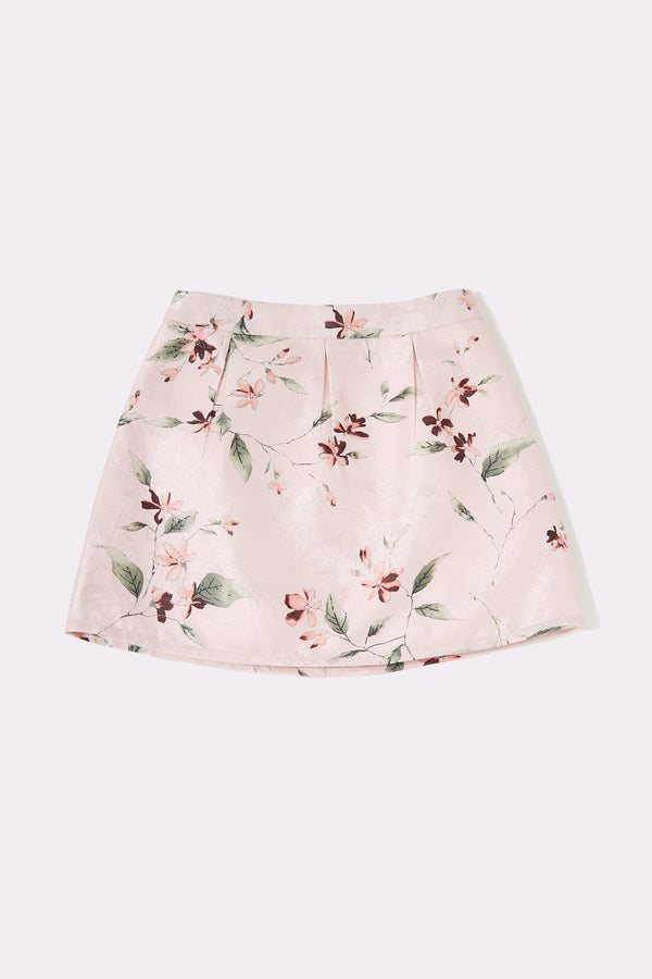 Pink A-line skirt with tuck detail at the waist
