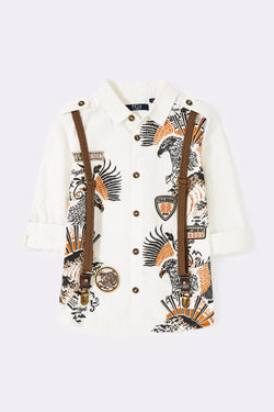 Stone roll up long sleeve boys front graphic print shirt with detachable braces and front buttons