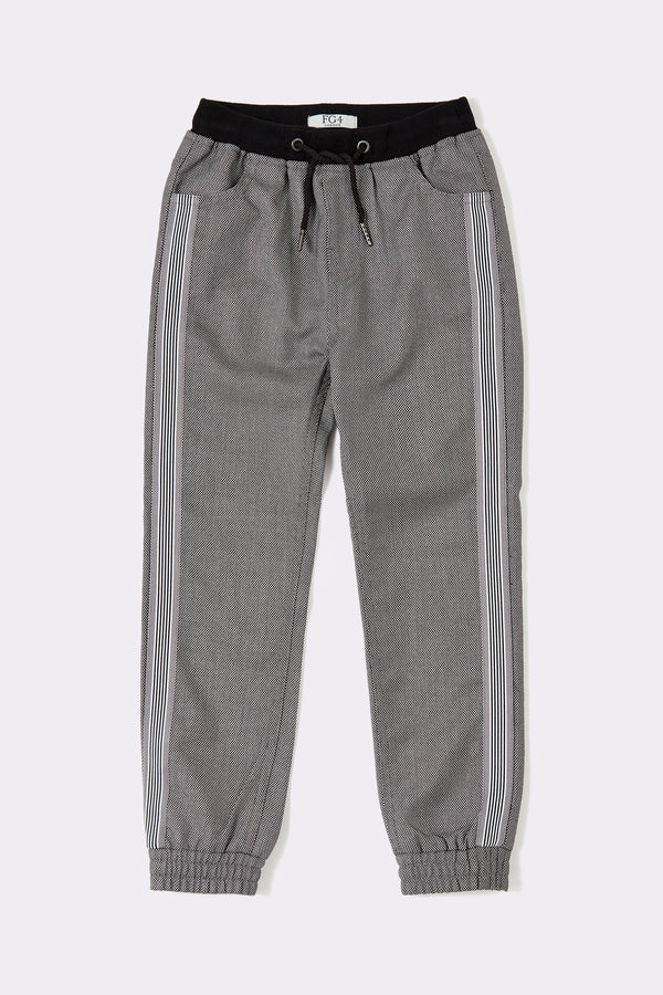 Solid Grey Stripe jogger pants with string black color waist design