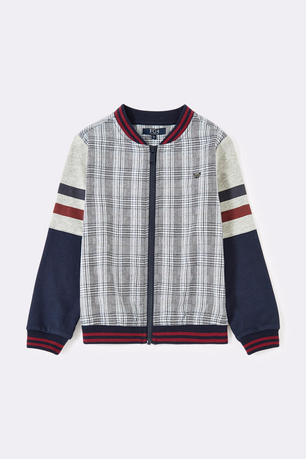 Multi check boys long sleeve boys shirt with front zip