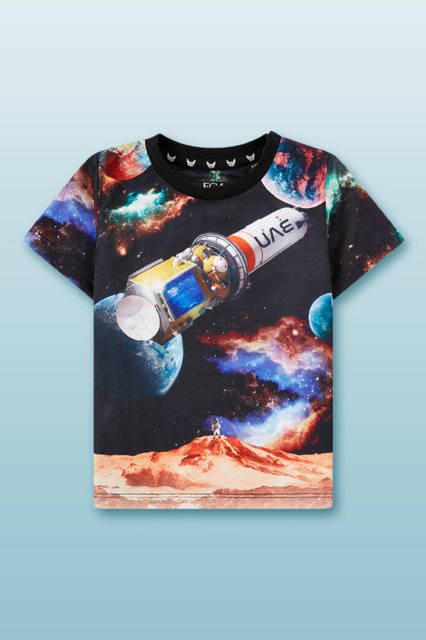 Round neck tee for boys with outer space digital graphics with UAE space craft print