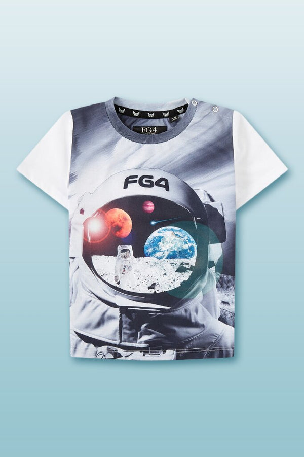 round neck tee for boys with digital graphic space themed photo with FG4 logo in front
