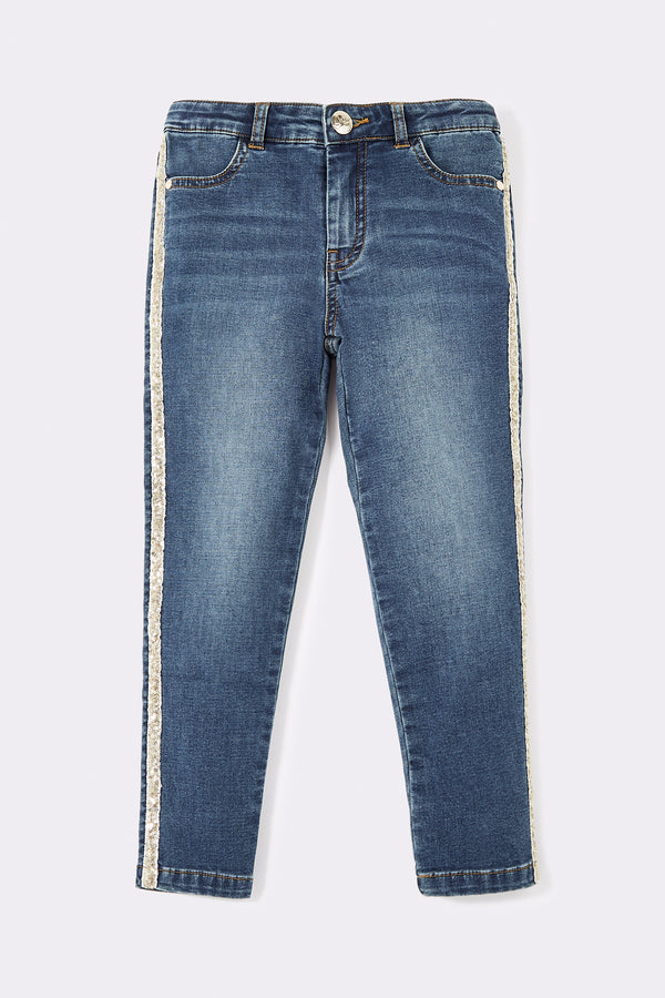Everyday jeans with sparkly side tape detail.  Denim