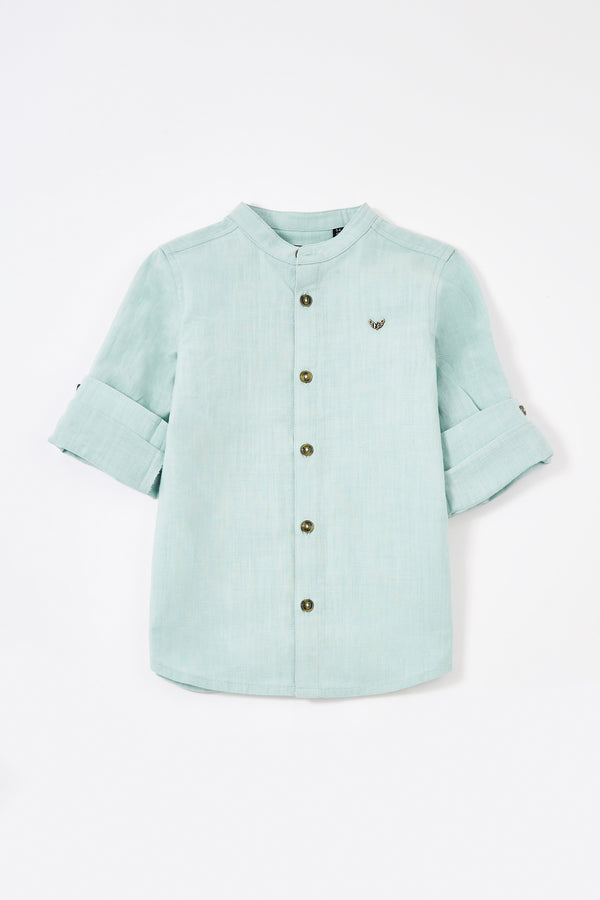Mint roll up long sleeve boys shirts with grandad collar and front buttons