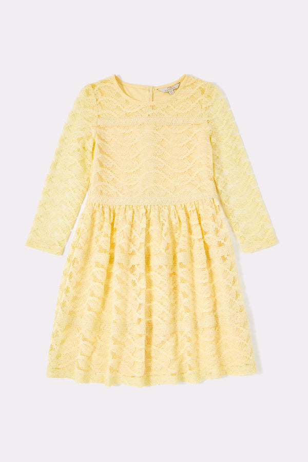 Lace dress with panel detail   Yellow