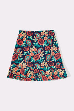 Multi flower knee length girls skirt with embroidery detail all over