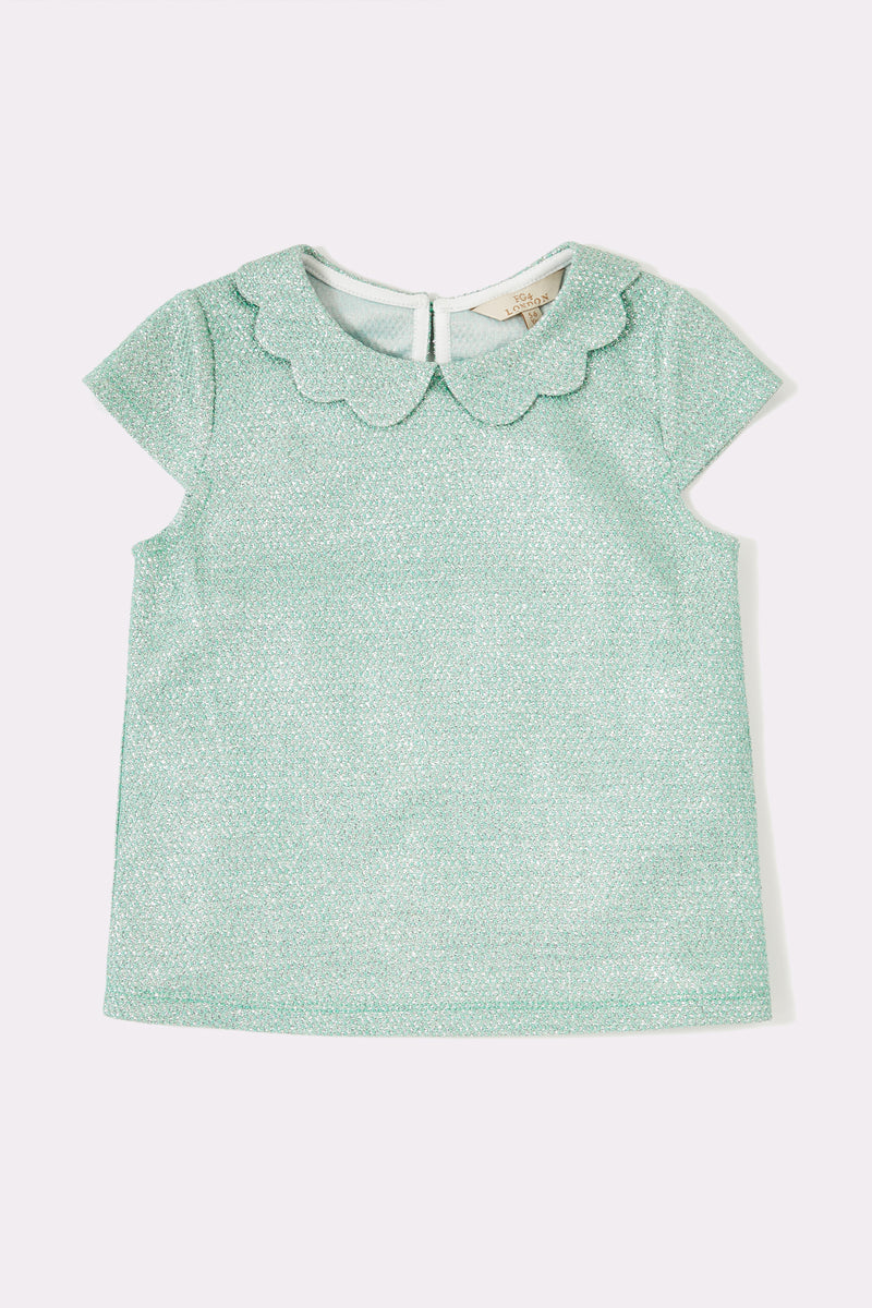 Girls aqua cap sleeve top with back opening and flower collar trim
