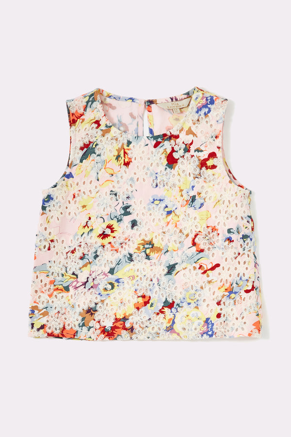 Sleeveless printed top with embroidery detail