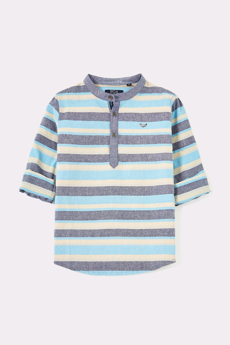 Round neck blue green stripe shirt with front buttons