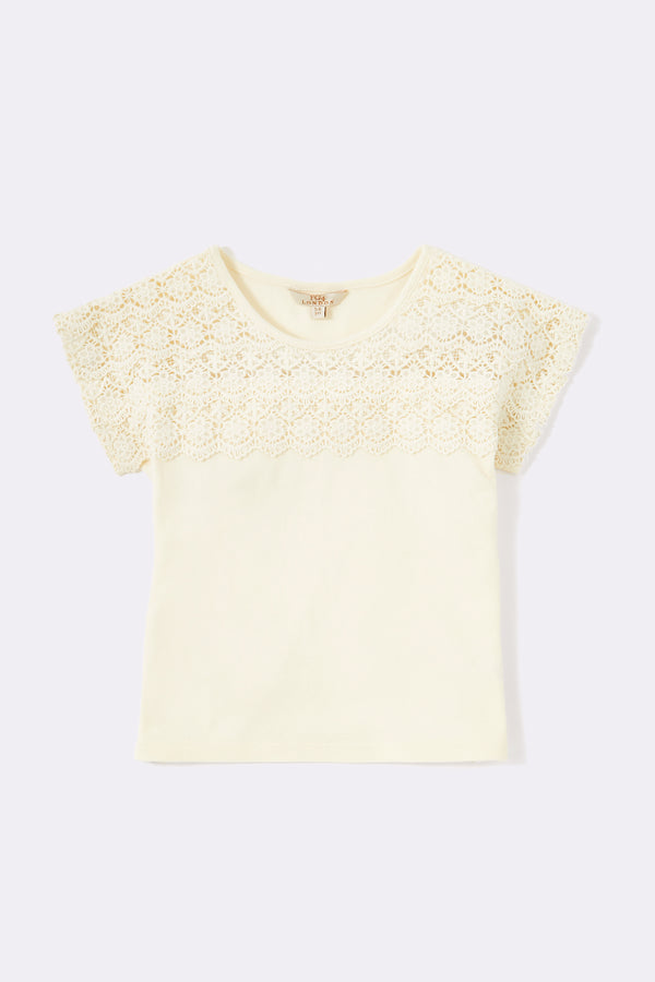 Round neck tee shirt with lace detail