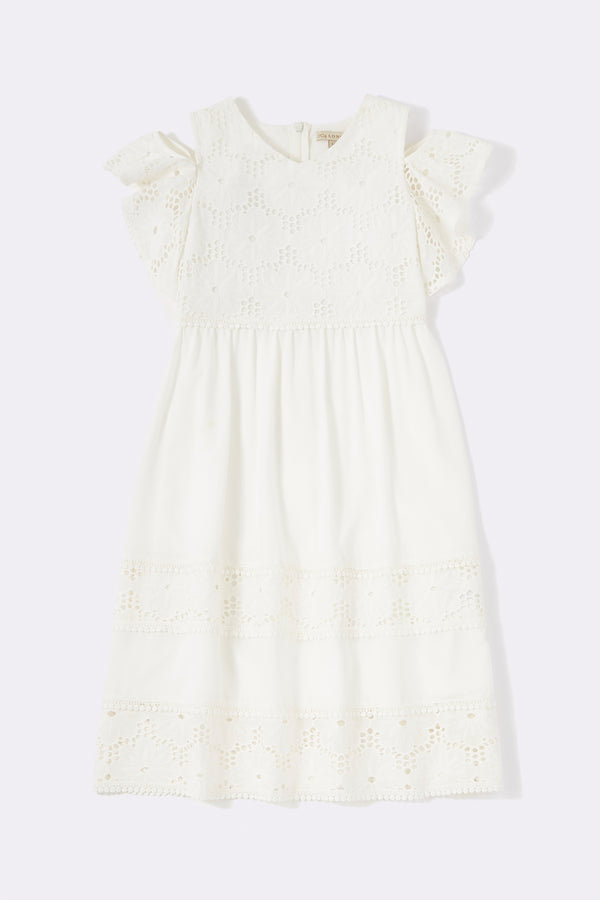 Cut out shoulder detail dress with lace trims