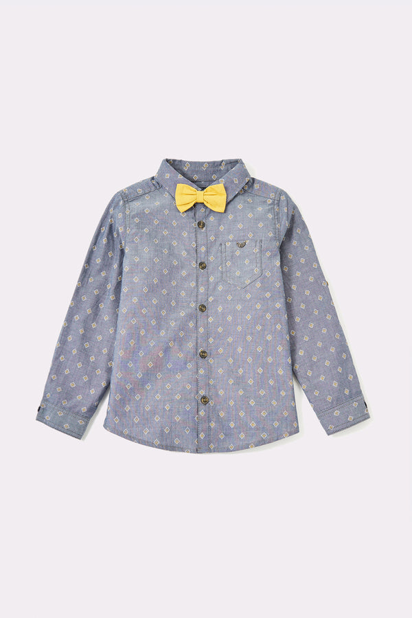 Blue long sleeve boys shirts with detachable yellow bowtie and front buttons opening