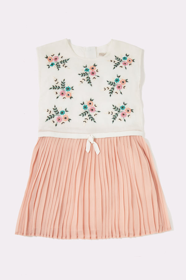 Multi print dress, pink pleated skirt and sleeveless white top