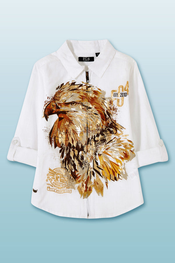 White roll up long sleeve boys shirt with eagle print and front zip