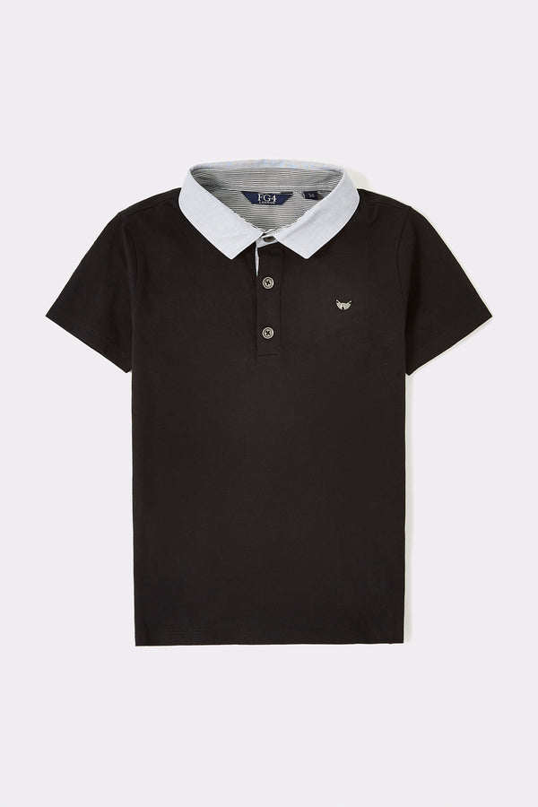 Boys Black polo shirt with grey collar and front buttons opening