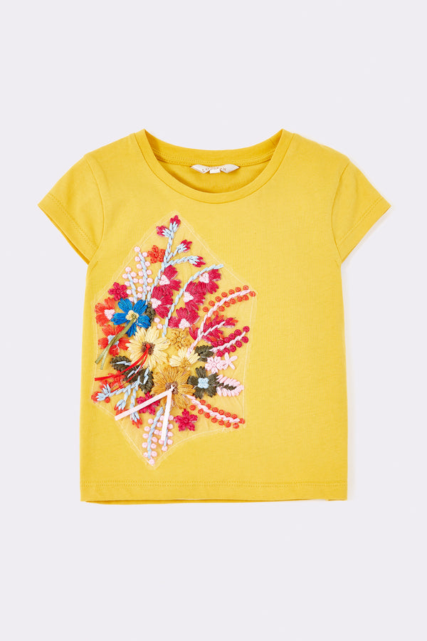 Yellow  short sleeve girls T shirt, with large sequin pattern on front