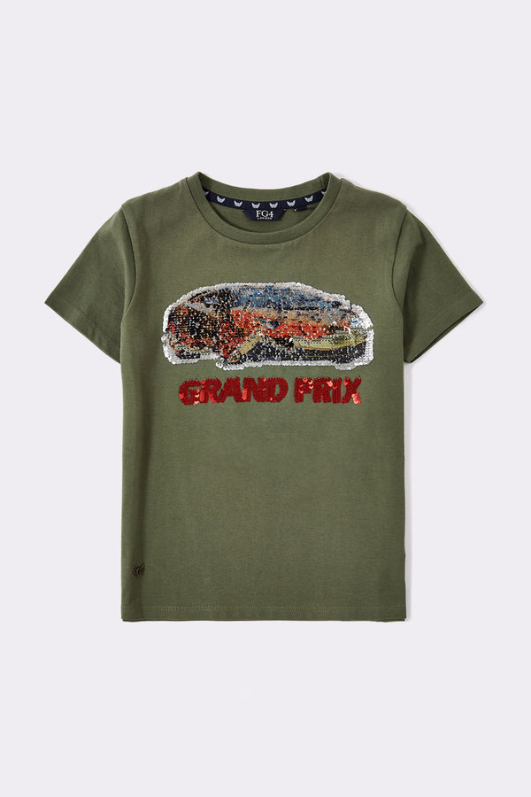 Khaki boys short sleeve t-shirt with reversible sequin print