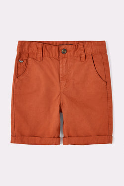Orange knee length boys shorts with pockets and elasticated waist