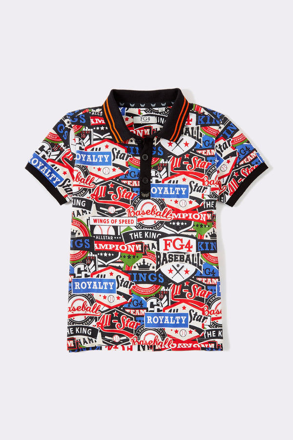 Multi print short sleeves boys polo shirt with black collar and front buttons