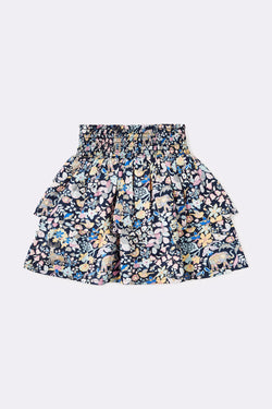Blue Printed tiered skirt , Above knee