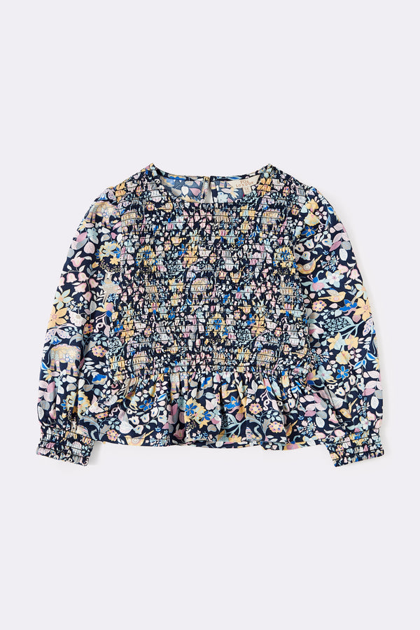 Blue Long Sleeve Printed top with smocked front detail
