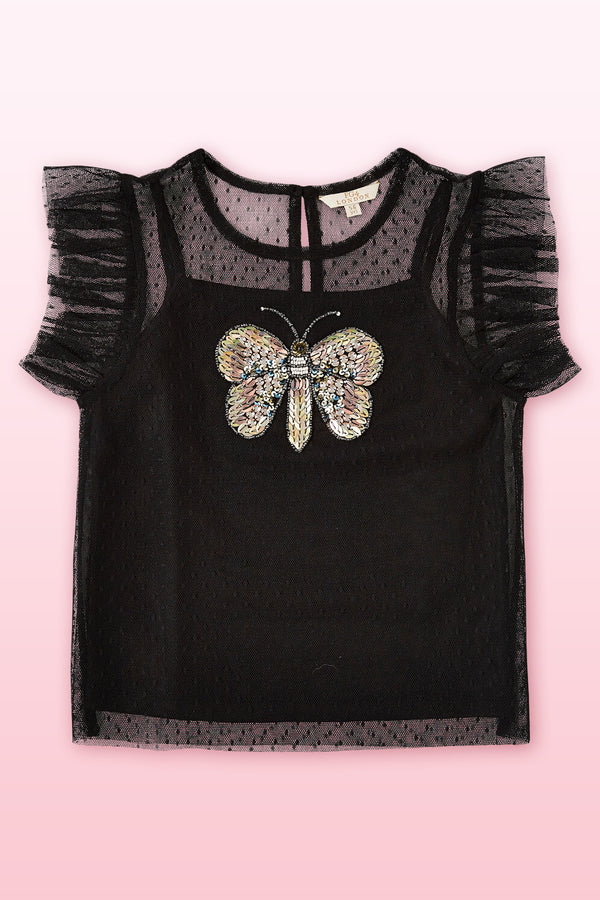Black Cap sleeve top with butterfly embellishment detail .