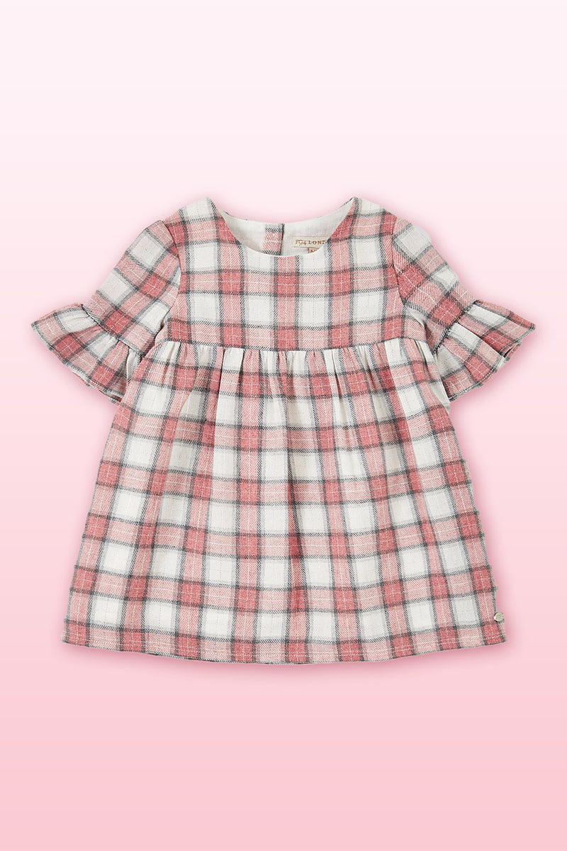 Multi check toddler baby dress, fluted sleeve baby dress, lightweight fabric baby dress, kids gown dress