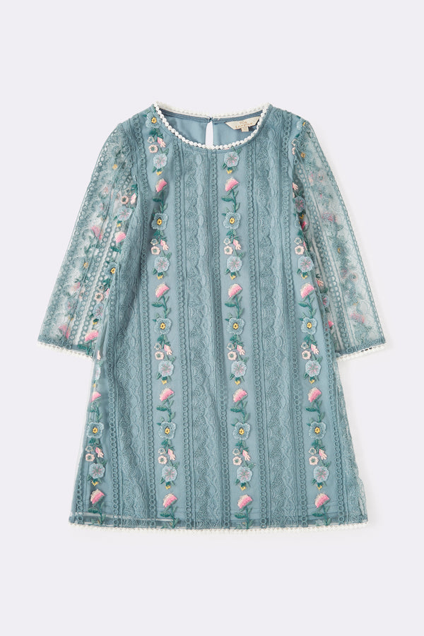 Long sleeved blue dress with floral  embroidery