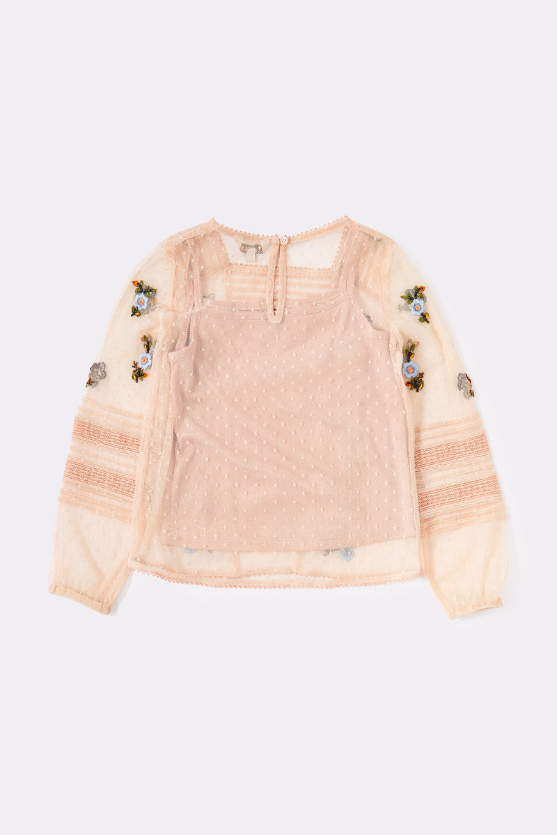 Stone, Long sleeved ,Embroidered mesh top