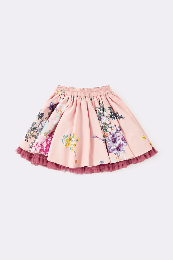 multi print pink skirt, with floral print, reversible to plain pink skirt with frill edging