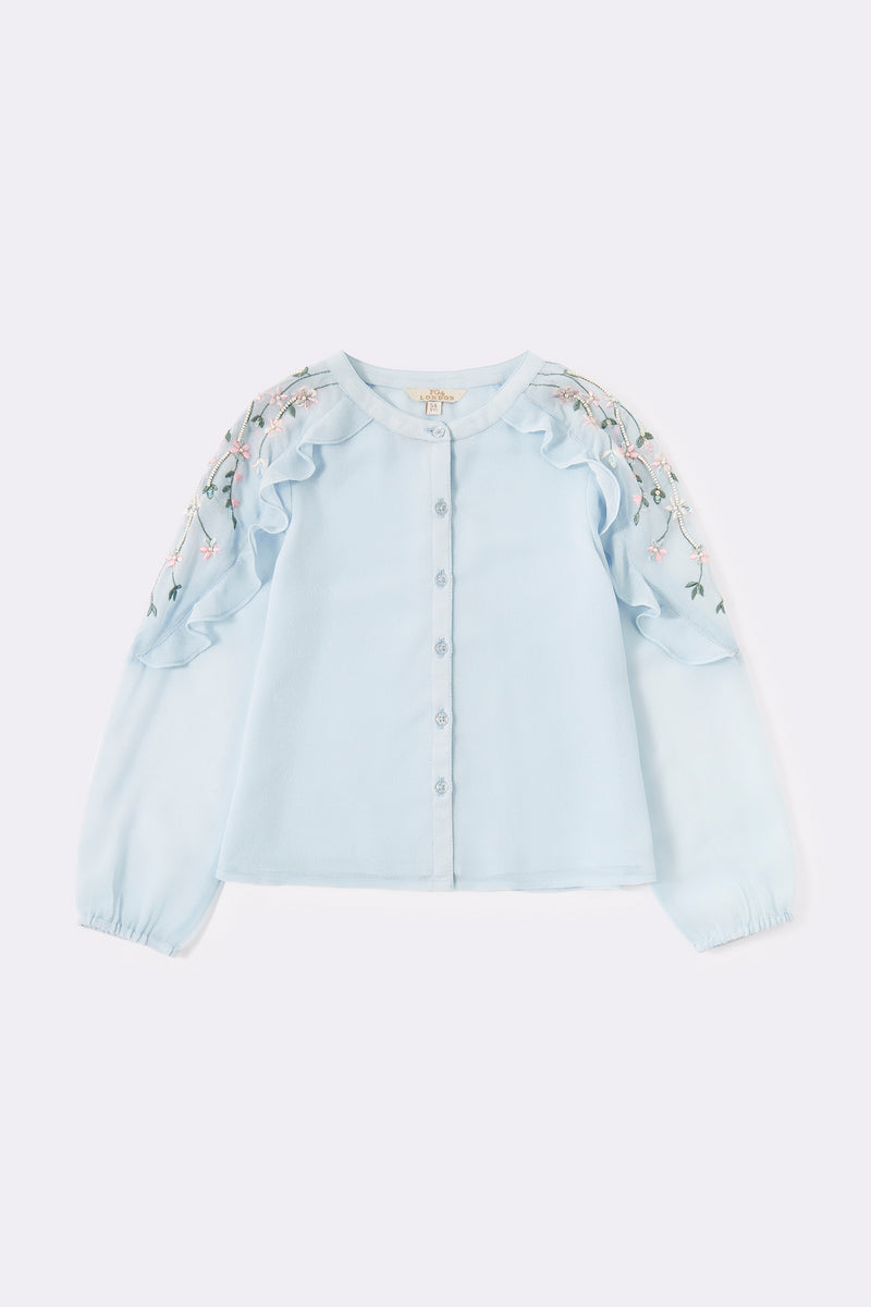 Button through blouse with frill & floral embroidered detail sleeve , Blue Long sleeve