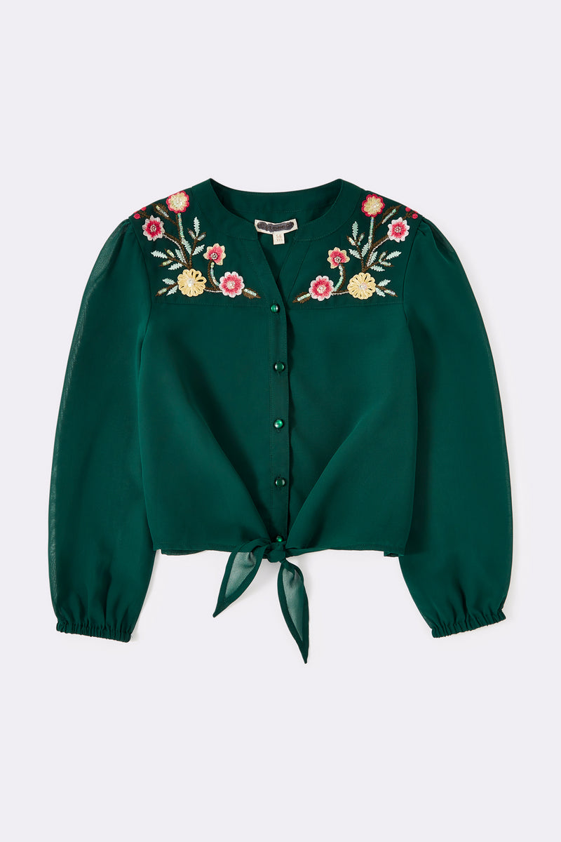 Green long sleeve blouse, with floor pattern on the front, with embroidered yoke & tie detail