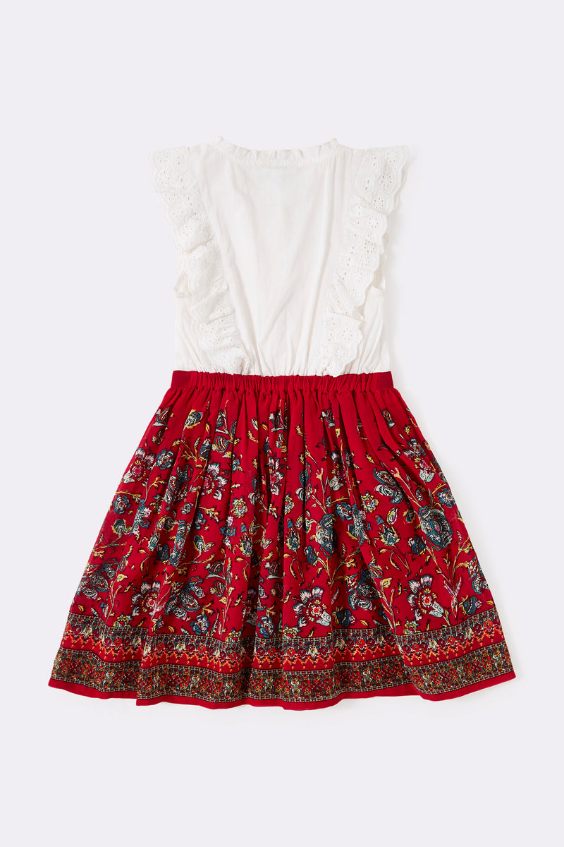 2 in 1 look dress with a red printed skirt and a white frill top