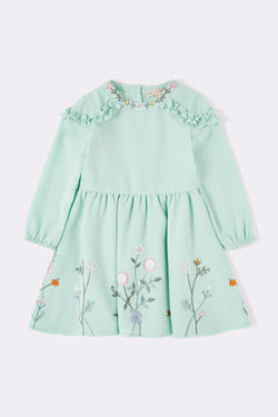 Kids gown with full sleeve, sage green flower printed baby dress baby dress with Round neck