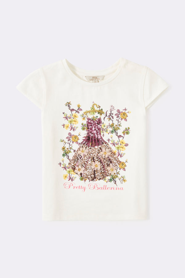 Round neck graphic t shirts with pretty ballerina print on the front